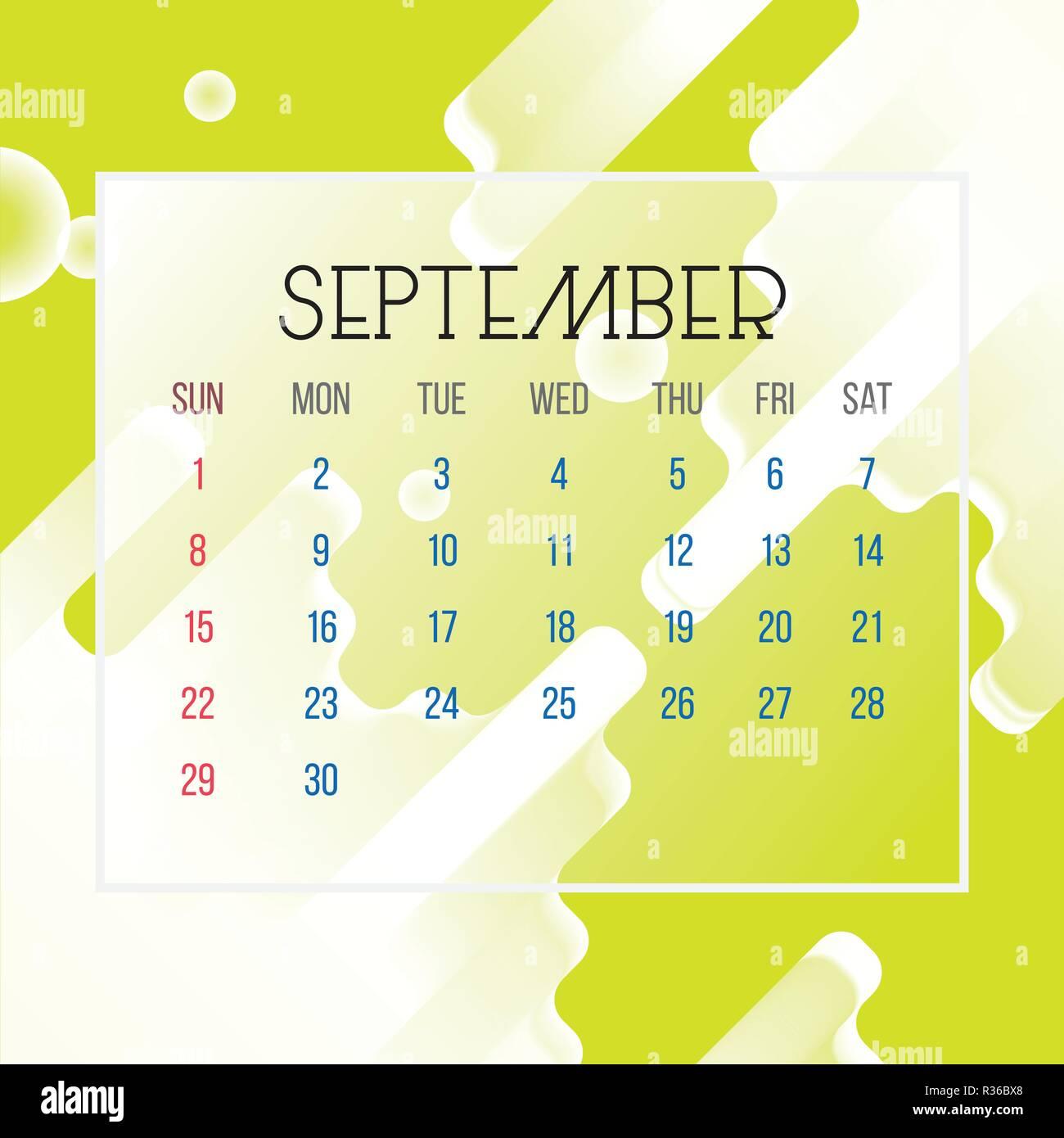 Pagina Di Calendario Settembre 2019.Settembre 2019 Calendario Leaf Illustrazione Vettore
