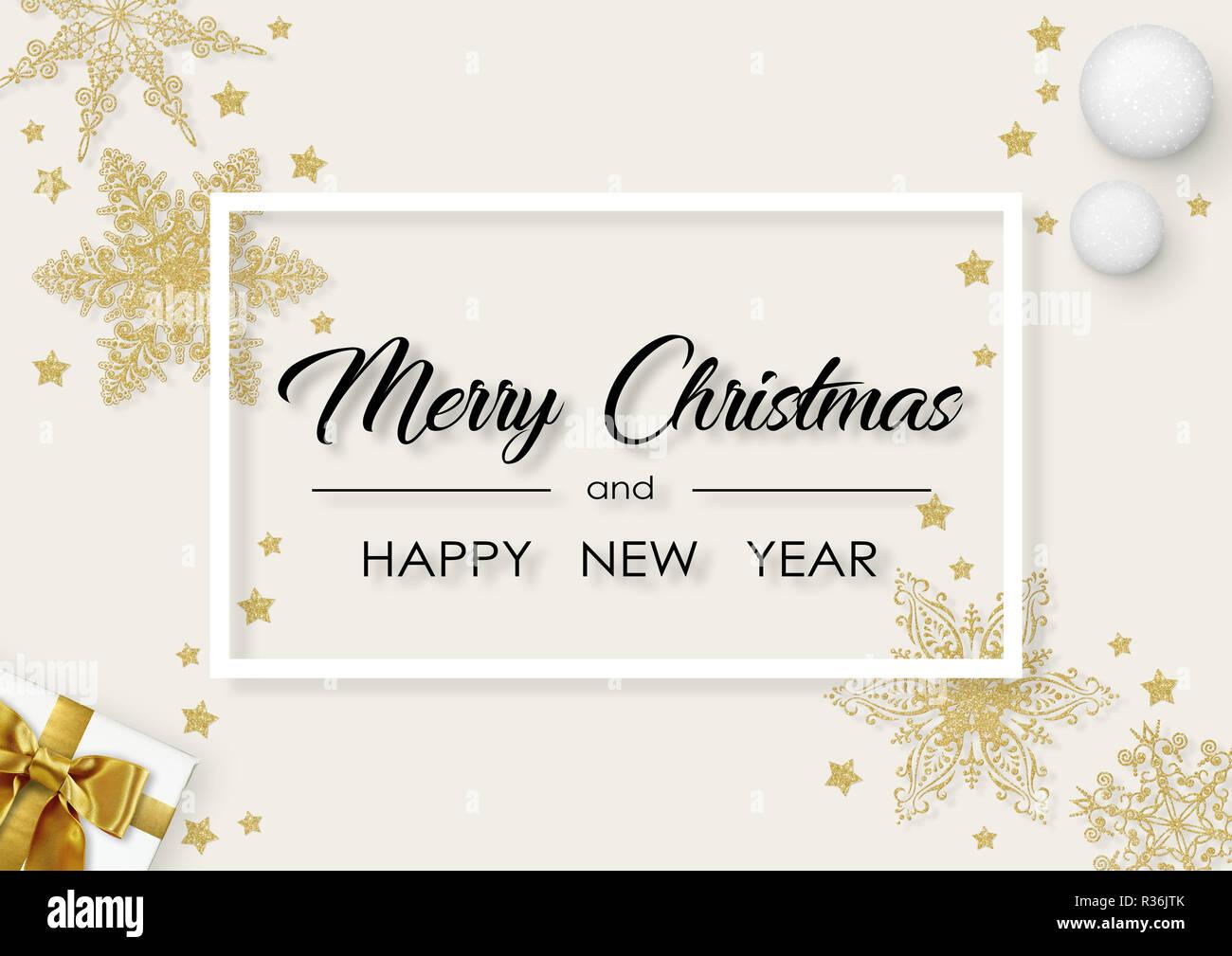 Buon Natale e felice anno nuovo lettering con cornice bianca, stelle dorate e fiocchi di neve Immagini Stock