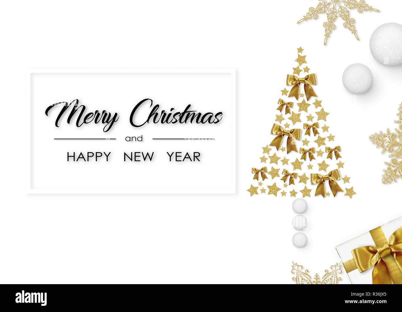 Buon Natale e Felice Anno Nuovo. Albero da stelle dorate, con la presente, golden fiocchi di neve su sfondo bianco Immagini Stock