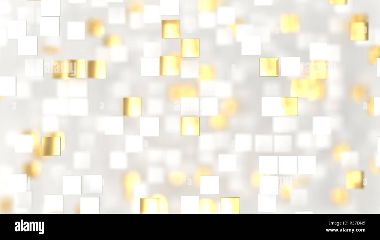Abstract Di Lusso Con Sfondo Bianco E Oro 3d Piazze 3d Render