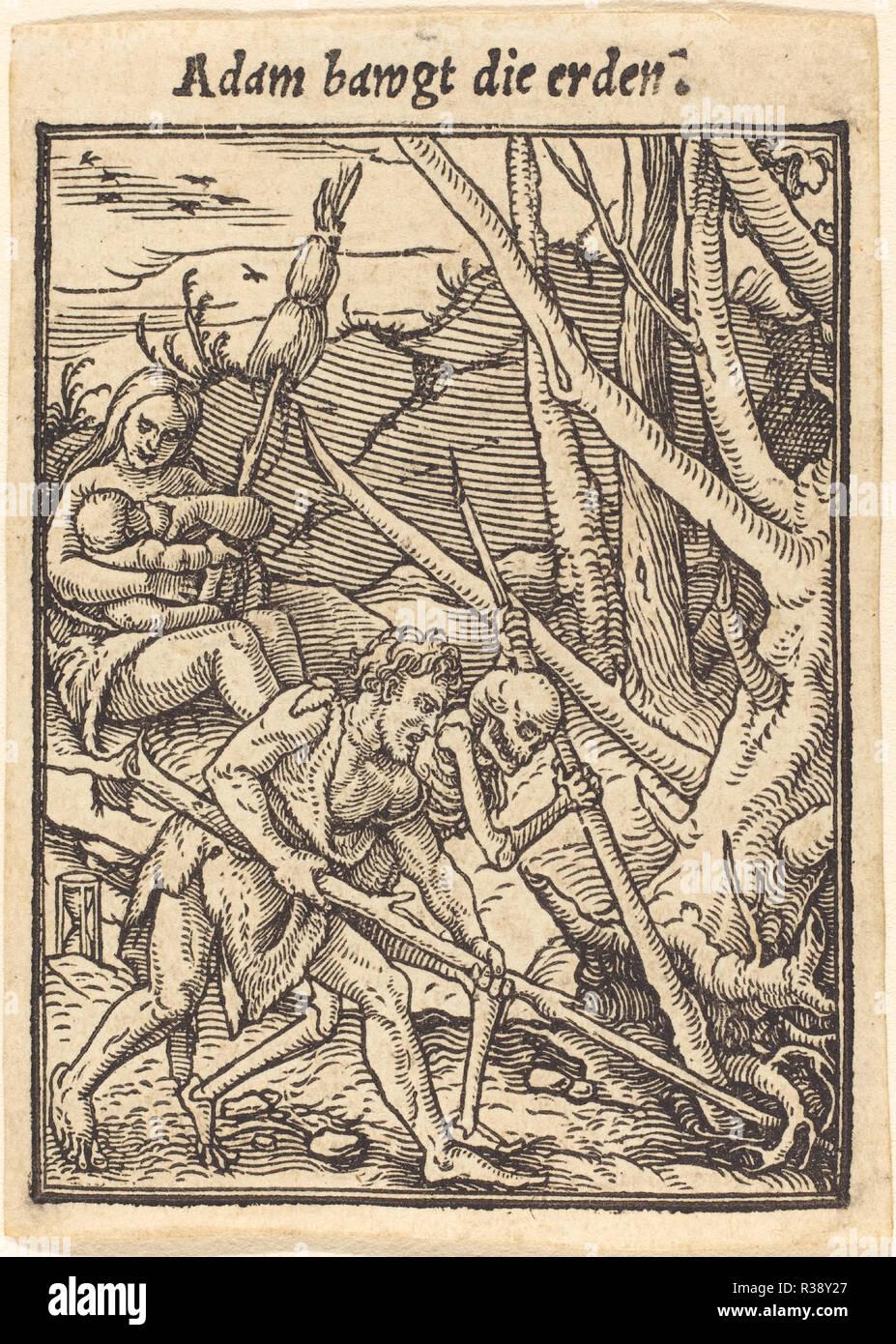 Adam coltivare. Medium: xilografia. Museo: National Gallery of Art di Washington DC. Autore: Hans Holbein il Giovane. Immagini Stock