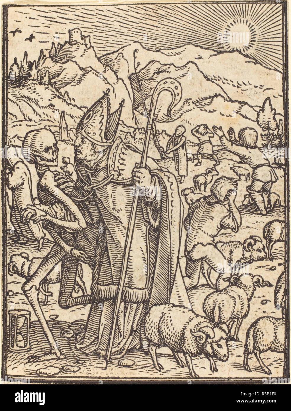 Il vescovo. Medium: xilografia. Museo: National Gallery of Art di Washington DC. Autore: Hans Holbein il Giovane. Immagini Stock