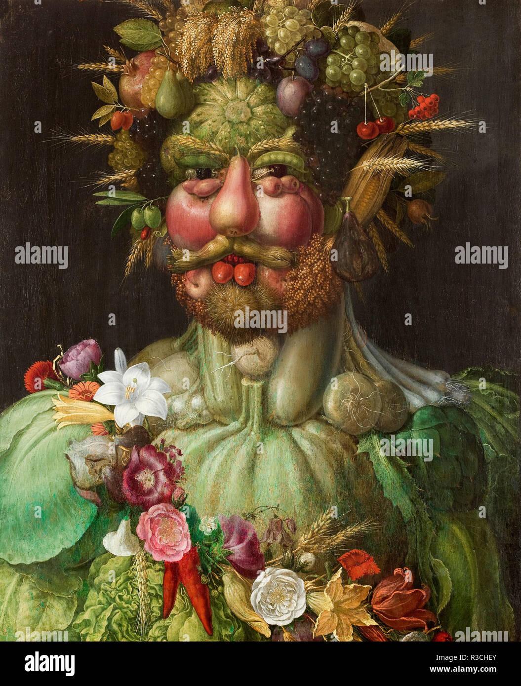 Rodolfo II di Hamsburg Vertumnus o. Data/Periodo: 1590. Disegno. Olio su pannello. Altezza: 680 mm (26.77 in); larghezza: 560 mm (22.04 in). Autore: Giuseppe Arcimboldo. ARCIMBOLDO, GIUSEPPE. Foto Stock