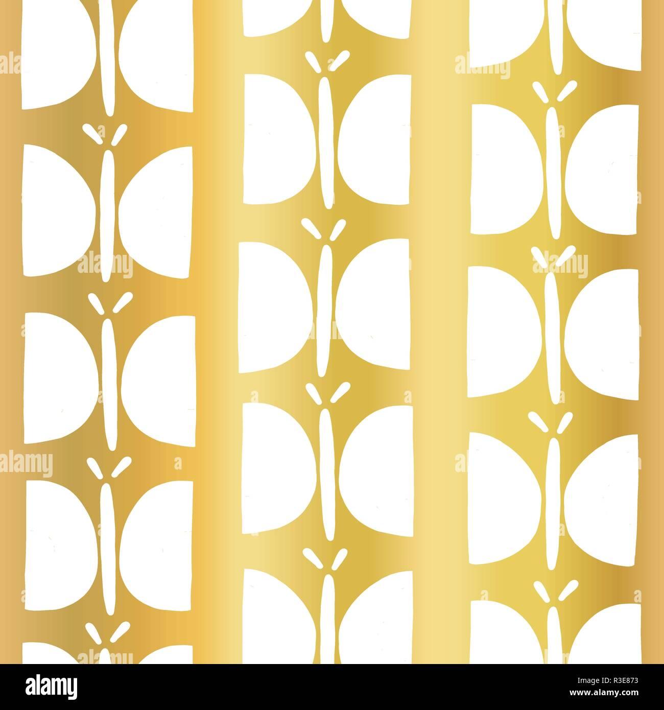 cd0689c2de Di lamina di oro senza giunture a farfalla disegno vettoriale. Bianco  disegnati a mano farfalle