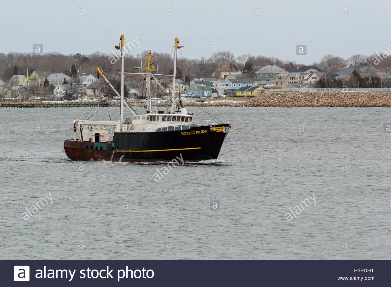 New Bedford, Massachusetts, STATI UNITI D'America - 21 Marzo 2018: peschereccio Nordic orgoglio tornando a New Bedford in anticipo di un imminente né'pasqua Immagini Stock