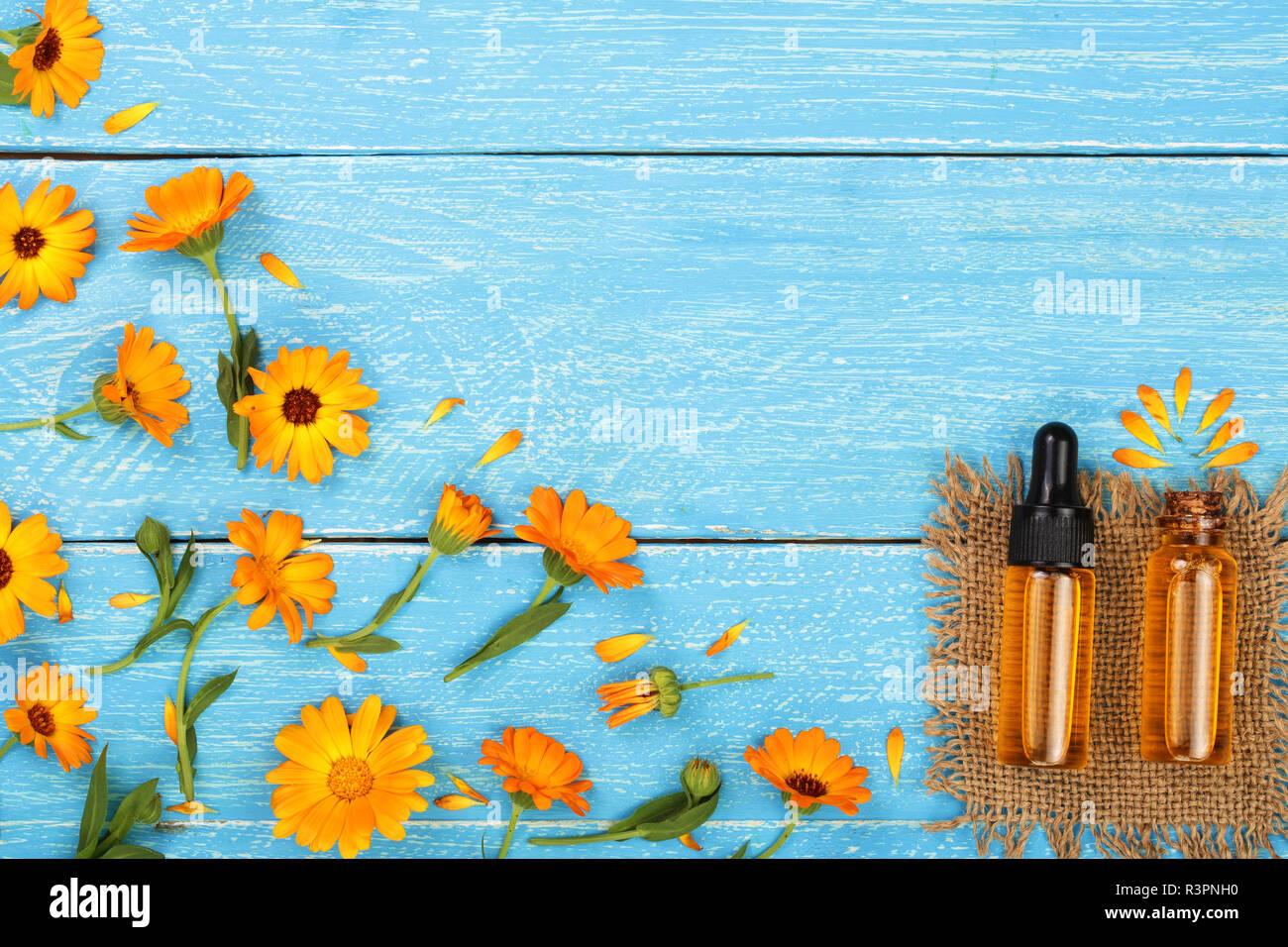 Aromaterapia Olio Essenziale Di Calendula Fiori Su Sfondo Blu Con
