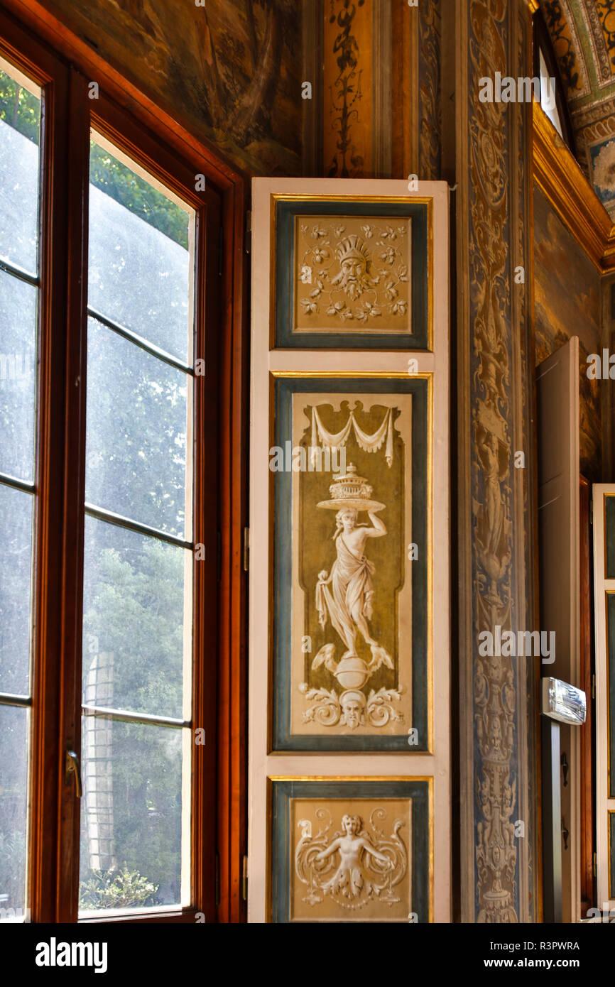 Italia, Roma, finestra, Villa Farnesina alla Lungaretta Immagini Stock