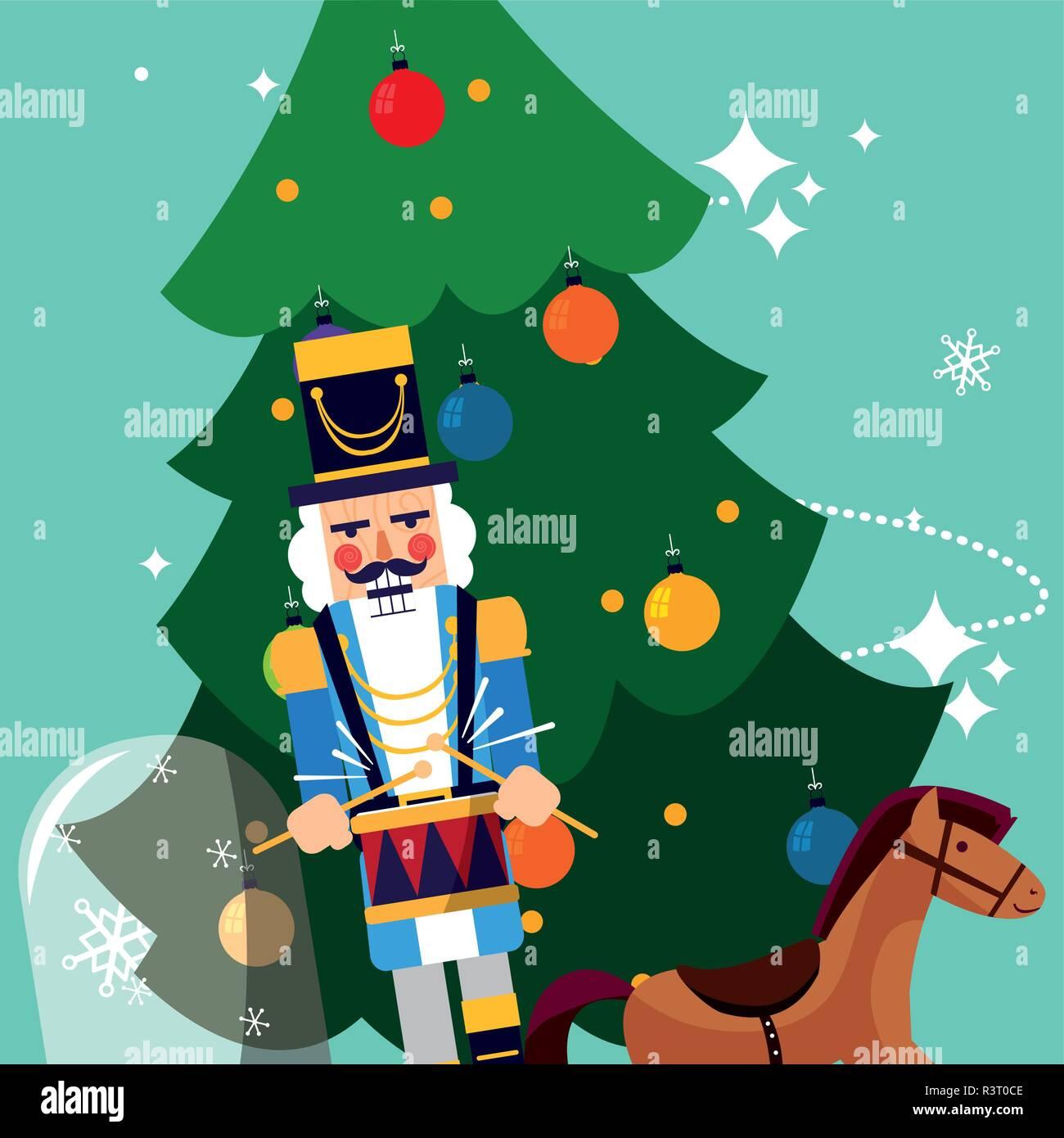 Immagini Di Natale Con Cavalli.Albero Di Natale Con Cavallo Di Legno E Schiaccianoci Su