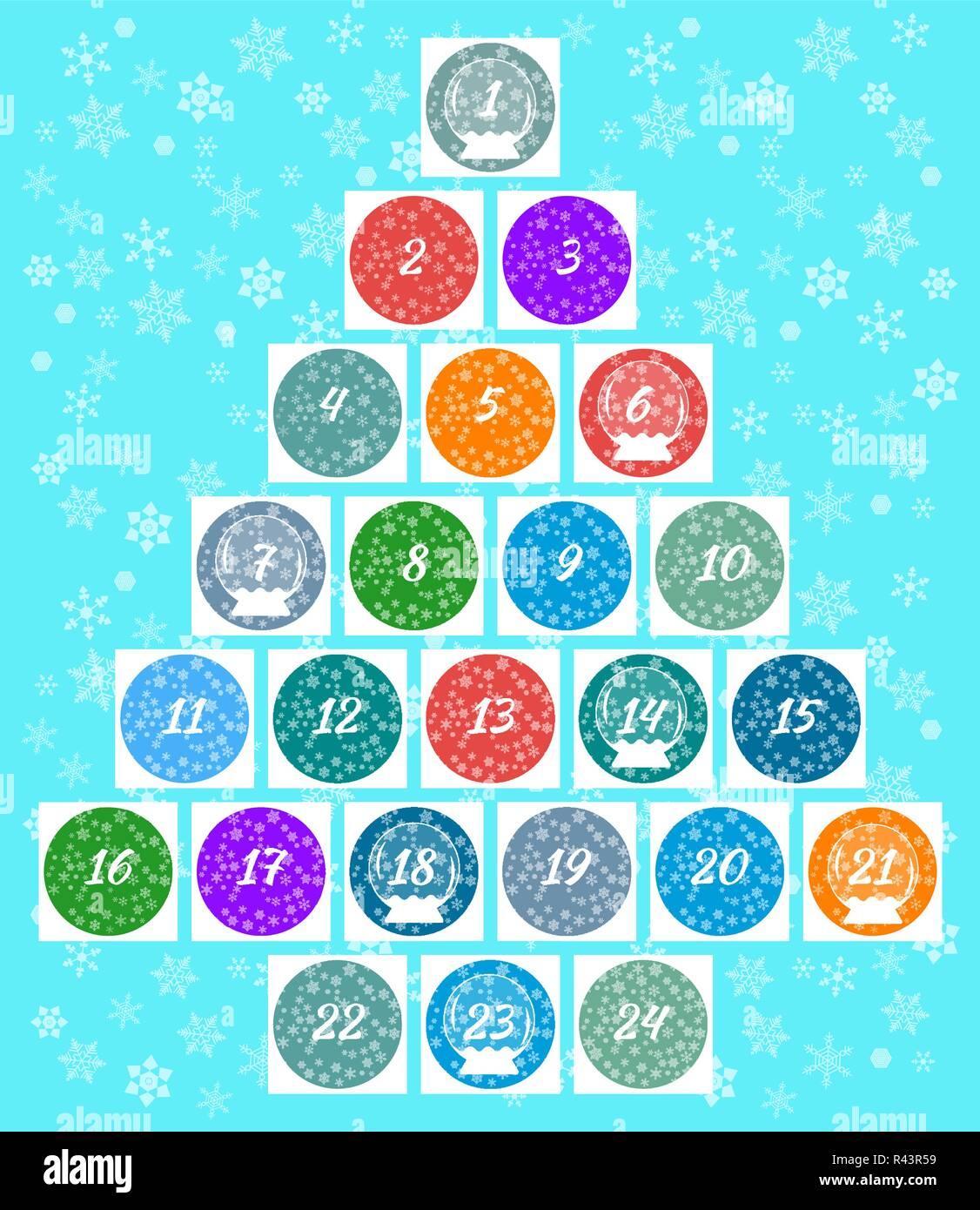 Calendario Con Numero Giorni.Natale Calendario Dell Avvento Multi Finestre Colorate Con