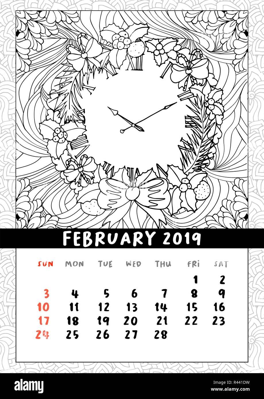 Ghirlanda Di Natale Orologio Libro Da Colorare Pagina Calendario