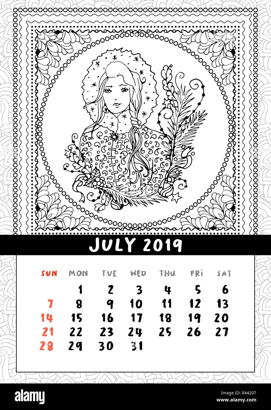 Pagina Di Calendario Luglio 2019.Snow Maiden Libro Da Colorare Pagina Calendario Luglio 2019