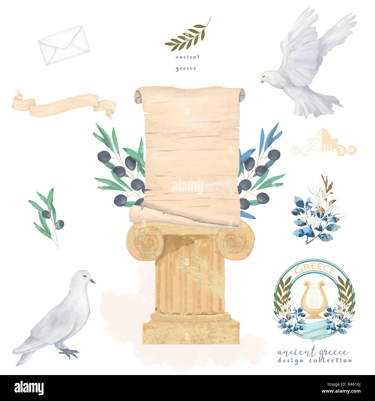 Piccione E Oliva Post Antichi Serie Vintage Disegno Carta