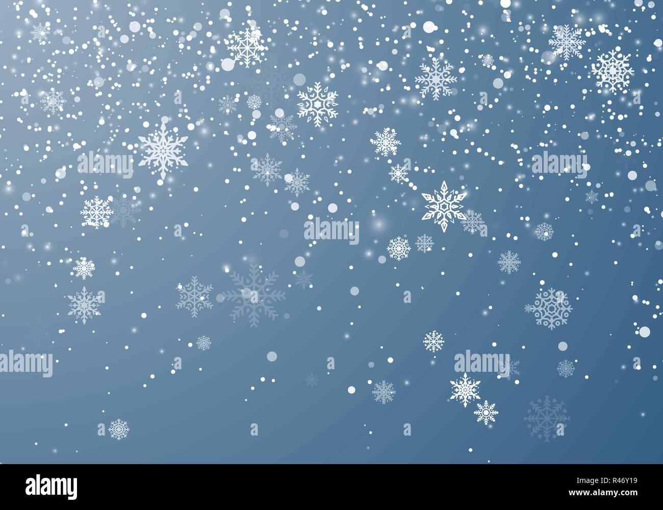 Nevicata sfondo di Natale. Flying fiocchi di neve e stelle sul cielo invernale dello sfondo. Inverno fiocco di neve wite modello di overlay. Illustrazione Vettoriale Immagini Stock