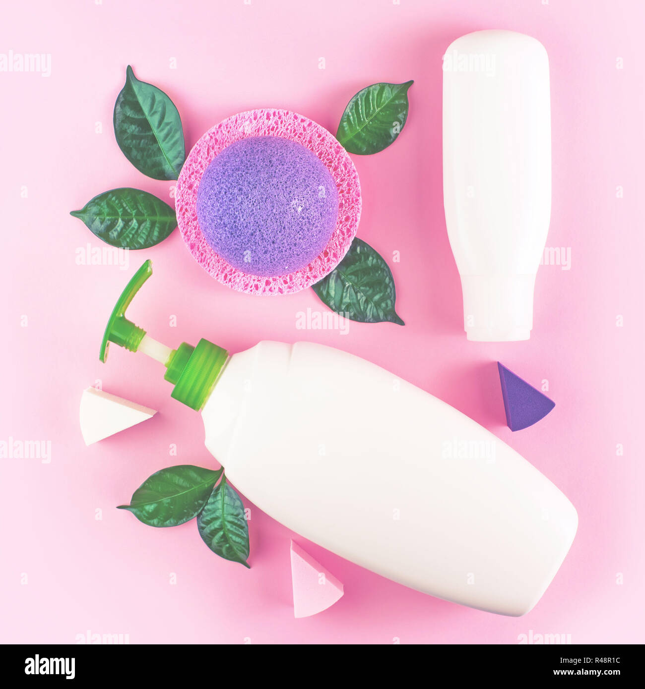 Confezione cosmetica la bottiglia di plastica shampoo crema gel doccia  latte foglie verde spugna regalo scatola 117d1195edfe