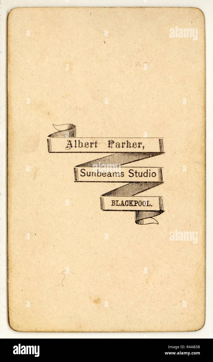 Inversione di Victorian Carte de Visite - Albert Parker raggi solari Studio, Blackpool, U.K.circa 1870 Immagini Stock