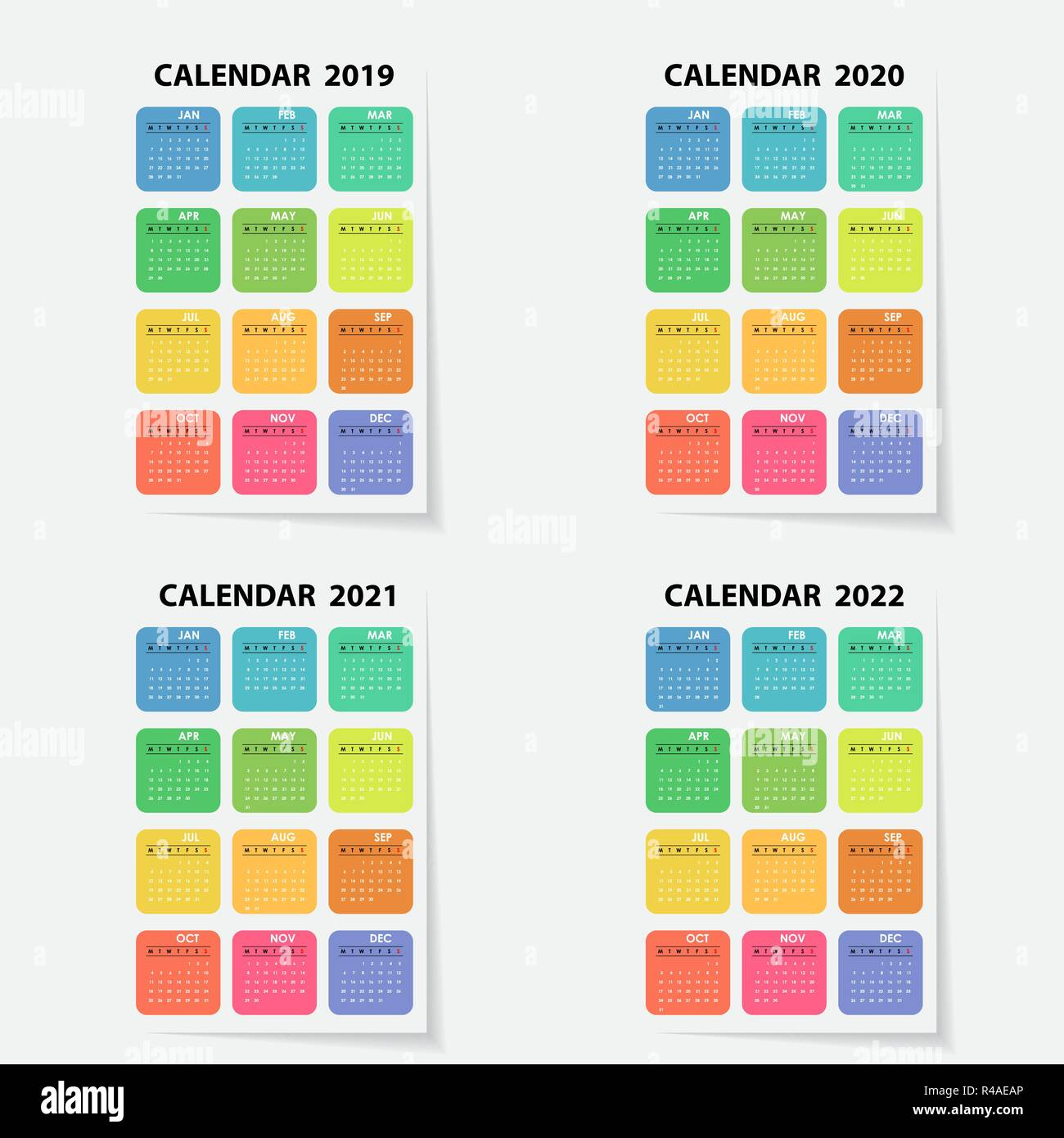 Calendario Annuale 2020.Il Calendario 2019 2020 2021 E 2022 Modello Calendario
