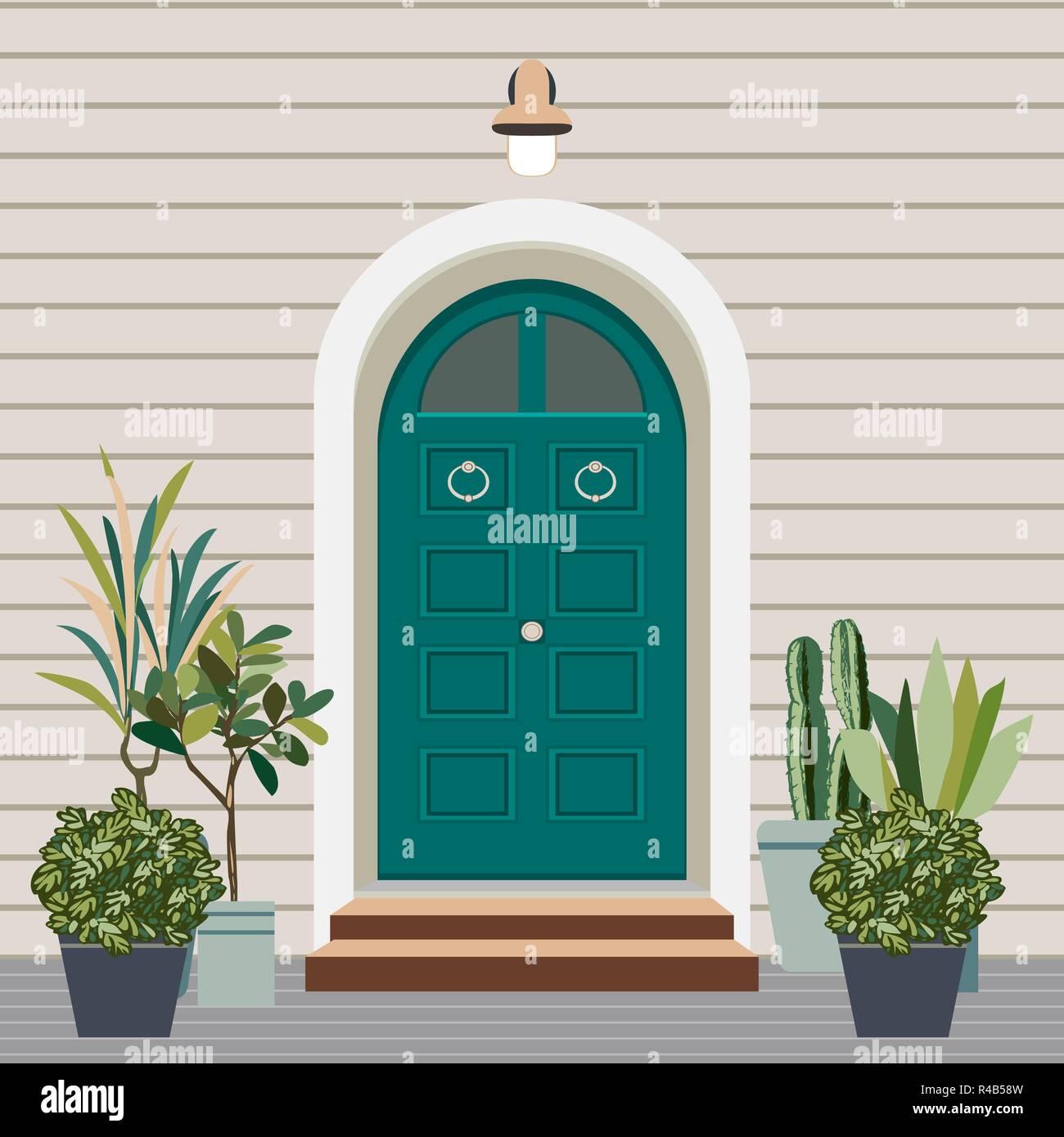Casa porta anteriore con finestra e passi in stile for Piante appartamento design