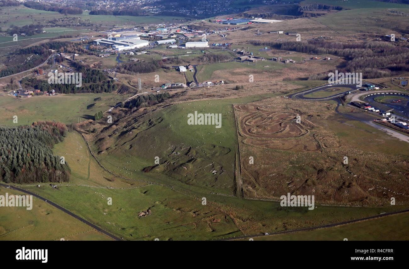 Vista aerea della Salute & Sicurezza in laboratorio e test site vicino a Buxton, Derbyshire, Regno Unito Immagini Stock