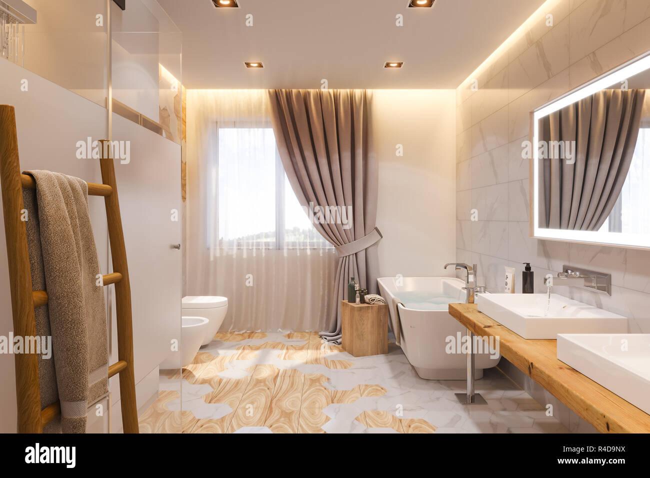 Bagno Design Scandinavo : Interior design di un bagno 3dillustrazione. linterno è