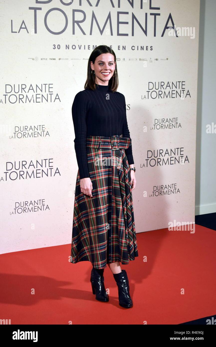 L'attrice Clara Albarado a photocall di premiere film ' duranti la tormenta ' a Madrid lunedì , 26 novembre 2018 Immagini Stock