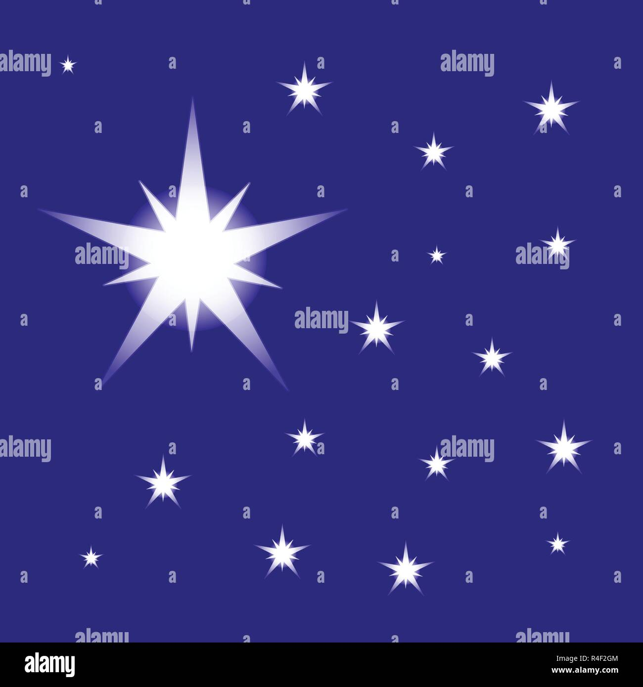 Cielo Stellato Vettore Isolato Su Sfondo Blu Stella Di Natale Per