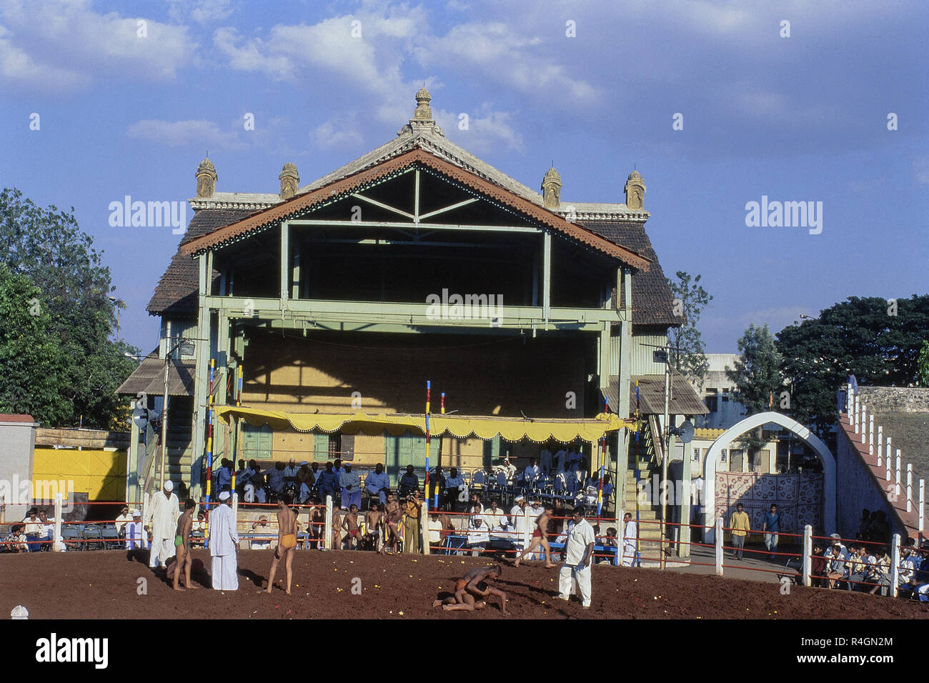 Shahu Khasbag wrestling arena, Palace Theatre, Kolhapur, Maharashtra, India, Asia Immagini Stock