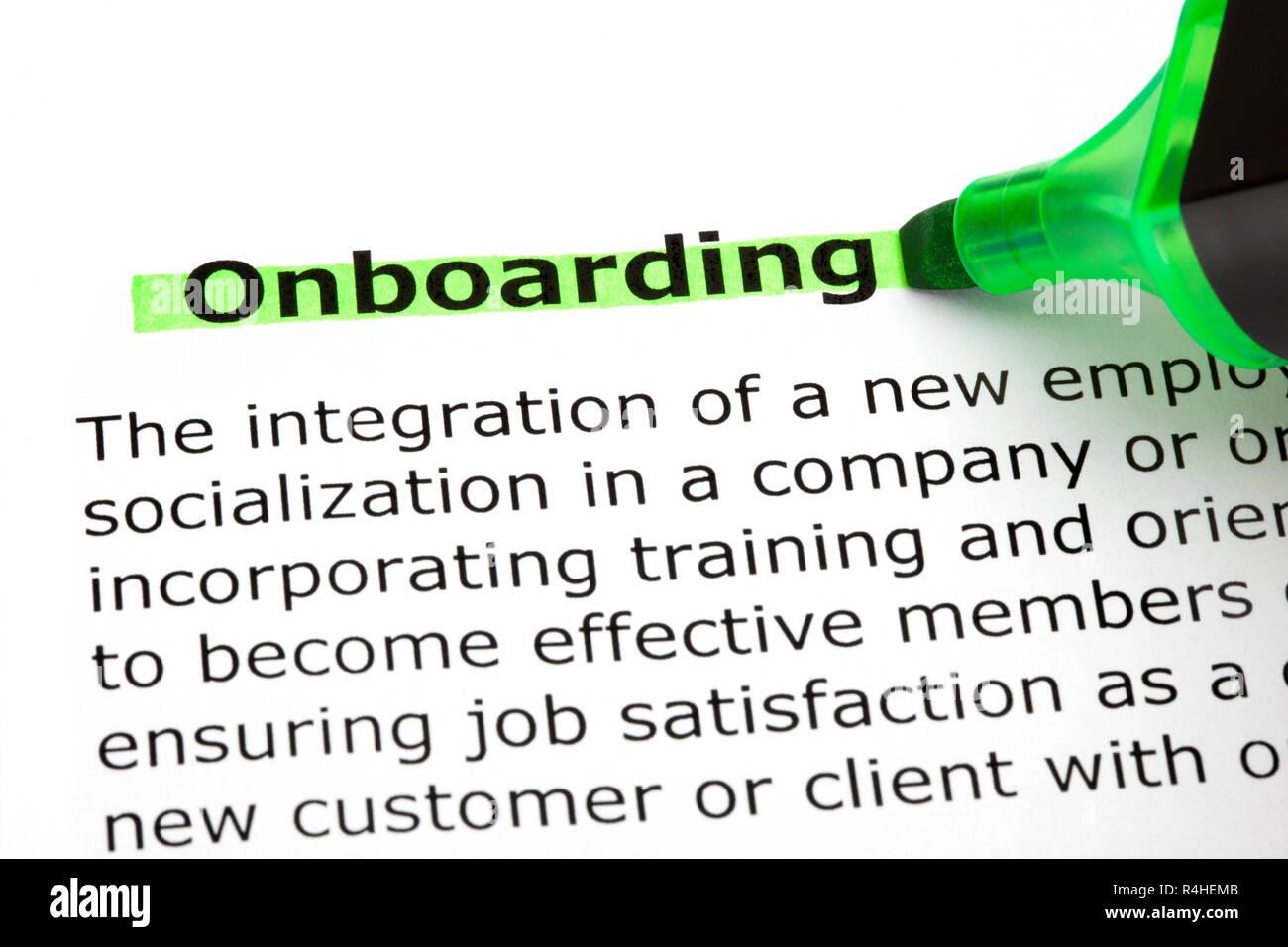 Attività di onboarding evidenziata con il marcatore verde Foto Stock