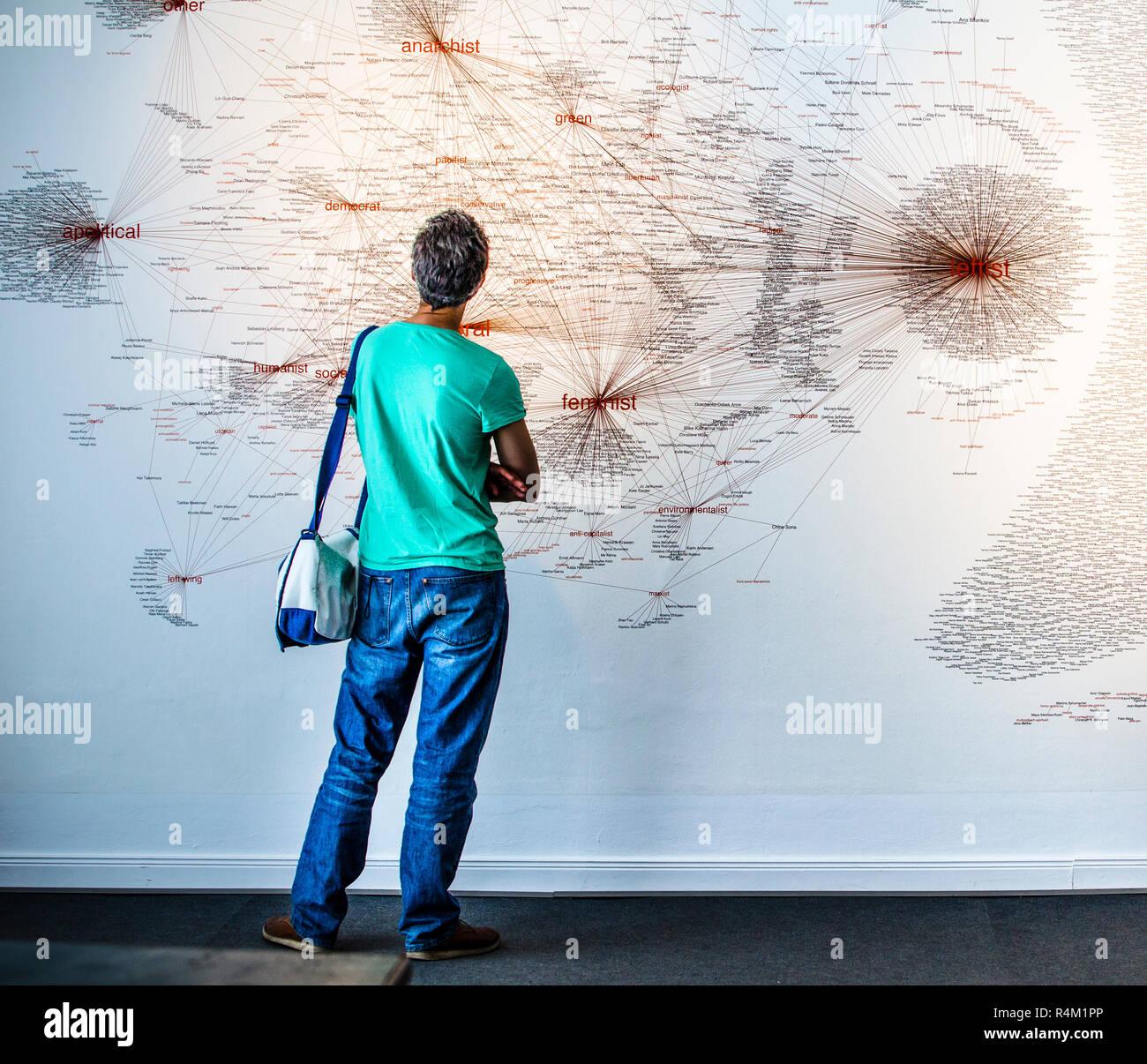 L'uomo studiing sociogram Immagini Stock