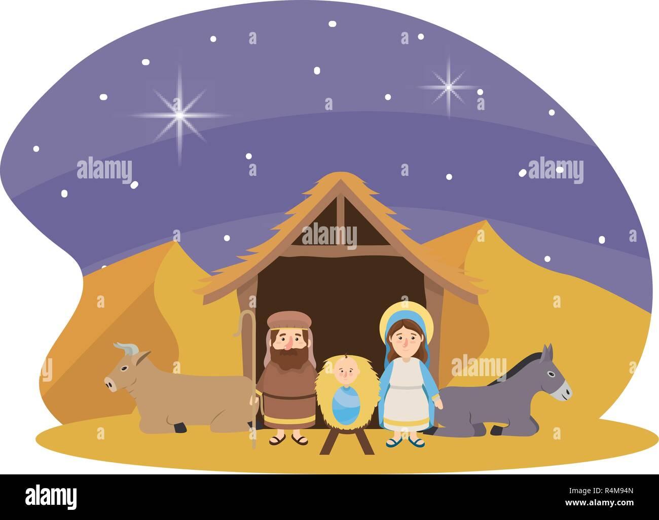 Natale natività presepe scena con giuseppe e maria con gesù e un