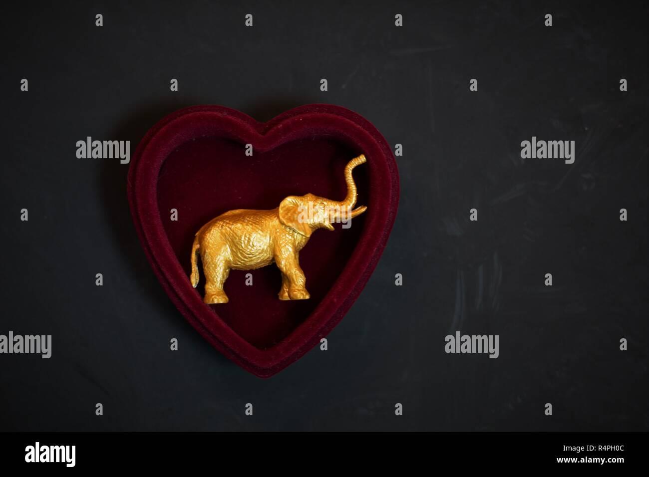 Un oro statuetta elefante dentro un cuore-scatola sagomata. Immagini Stock
