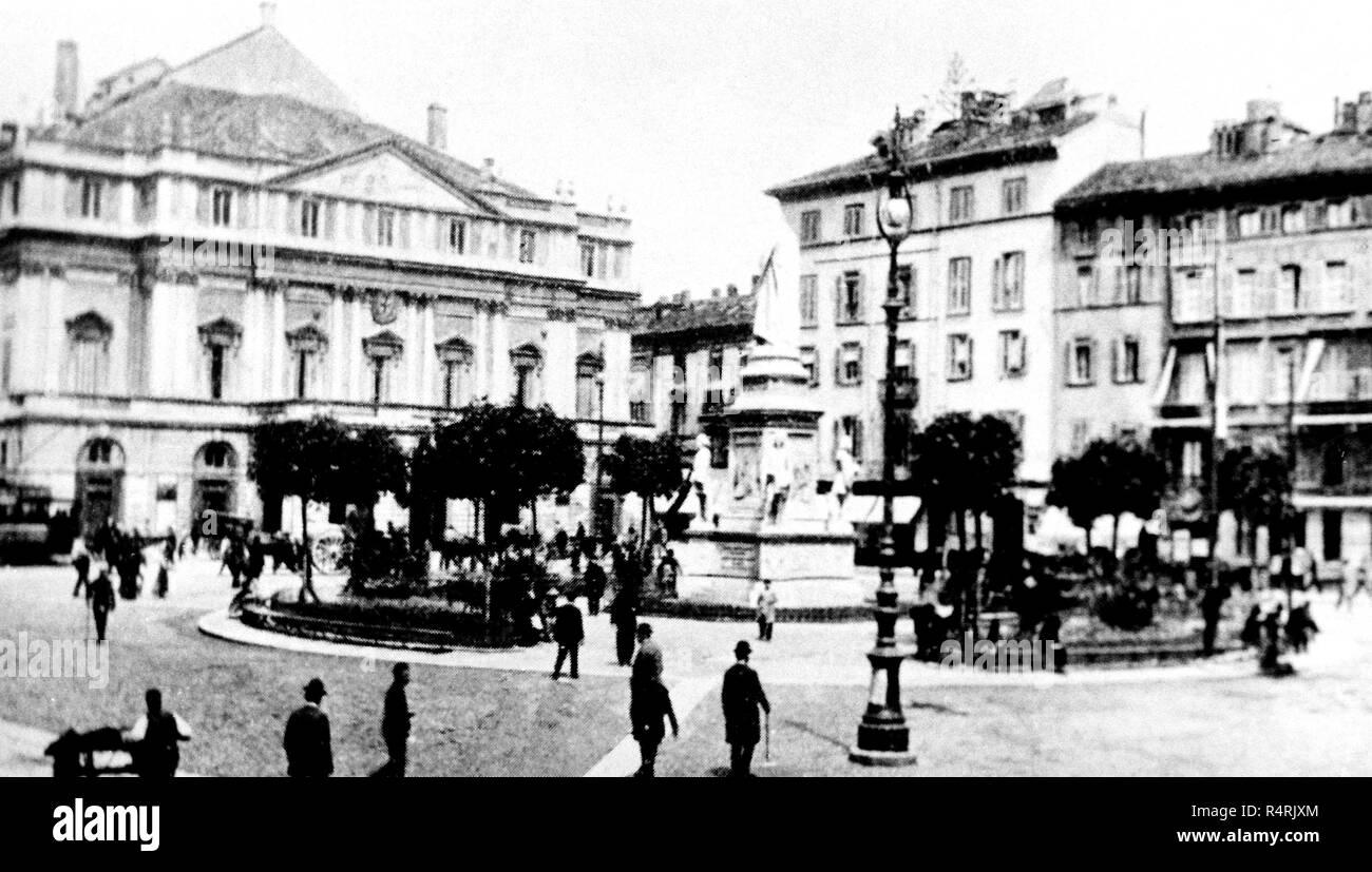 L'Italia, Milano, piazza della scala, 1872 Immagini Stock