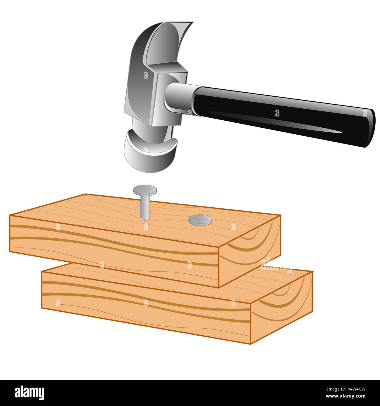 Scheda e martello Immagini Stock