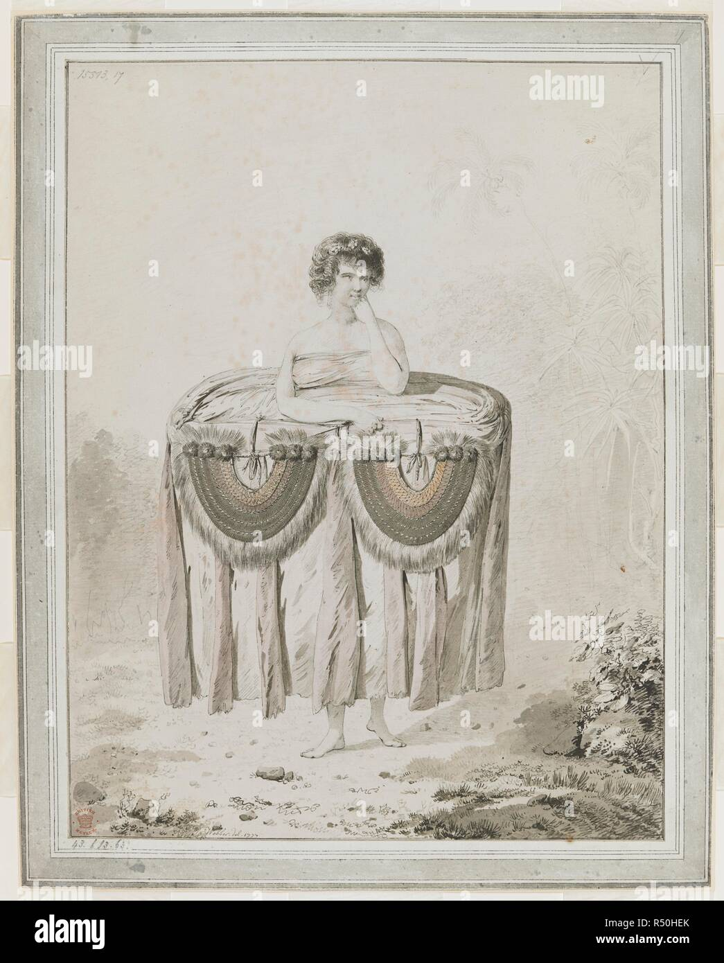"""[Intero disegno] La donna di Tahiti è vestito in modo chiamato 'Atee""""; il suo corpo è avvolto in una grande quantità di tessuto, e decorata con due 'Taames' o delle corazze. Il panno e corazze sono per essere offerto un doni. Cuocere i record nel suo giornale che due donne sono state condotte a bordo della nave e il panno e corazze, insieme a suini e frutta, sono stati offerti per cucinare come un regalo da parte del padre di Otoo. Matavai Bay, Tahiti, 8 settembre 1777. I disegni eseguiti da John Webber durante il terzo viaggio del Capitano Cook, 1777-1779. Tahiti; 1777. . Fonte: Aggiungi. 15513, No.17. Rete LAN Immagini Stock"""