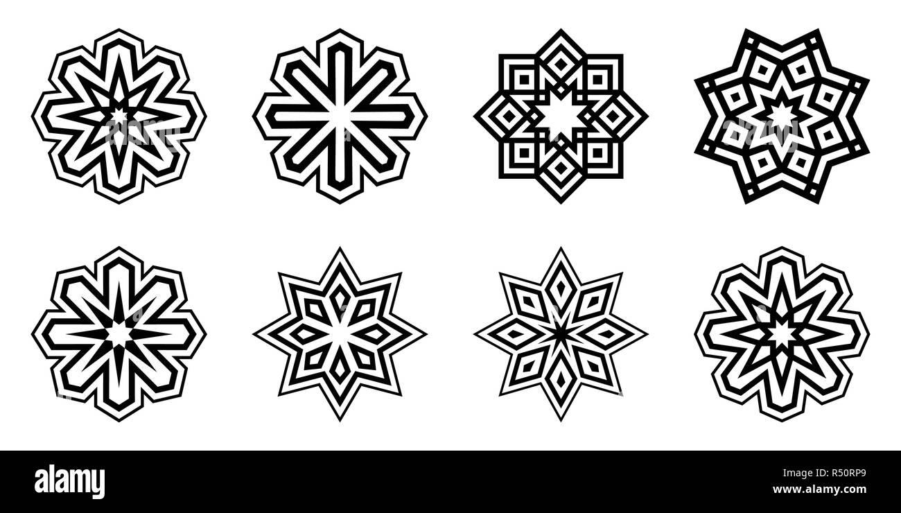 Set Di Fiocchi Di Neve Isolato Su Sfondo Bianco Piatto Icone Di