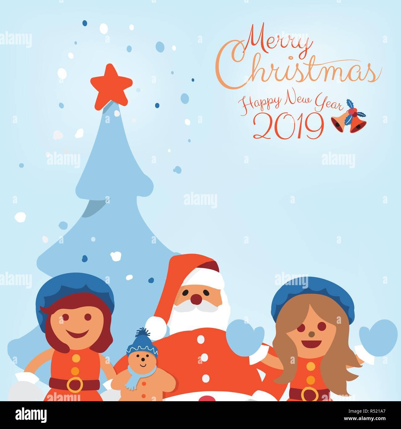 Biglietti Buon Natale Bambini.Buon Natale E Felice Anno Nuovo 2019 Vacanze Biglietto Di Auguri Con