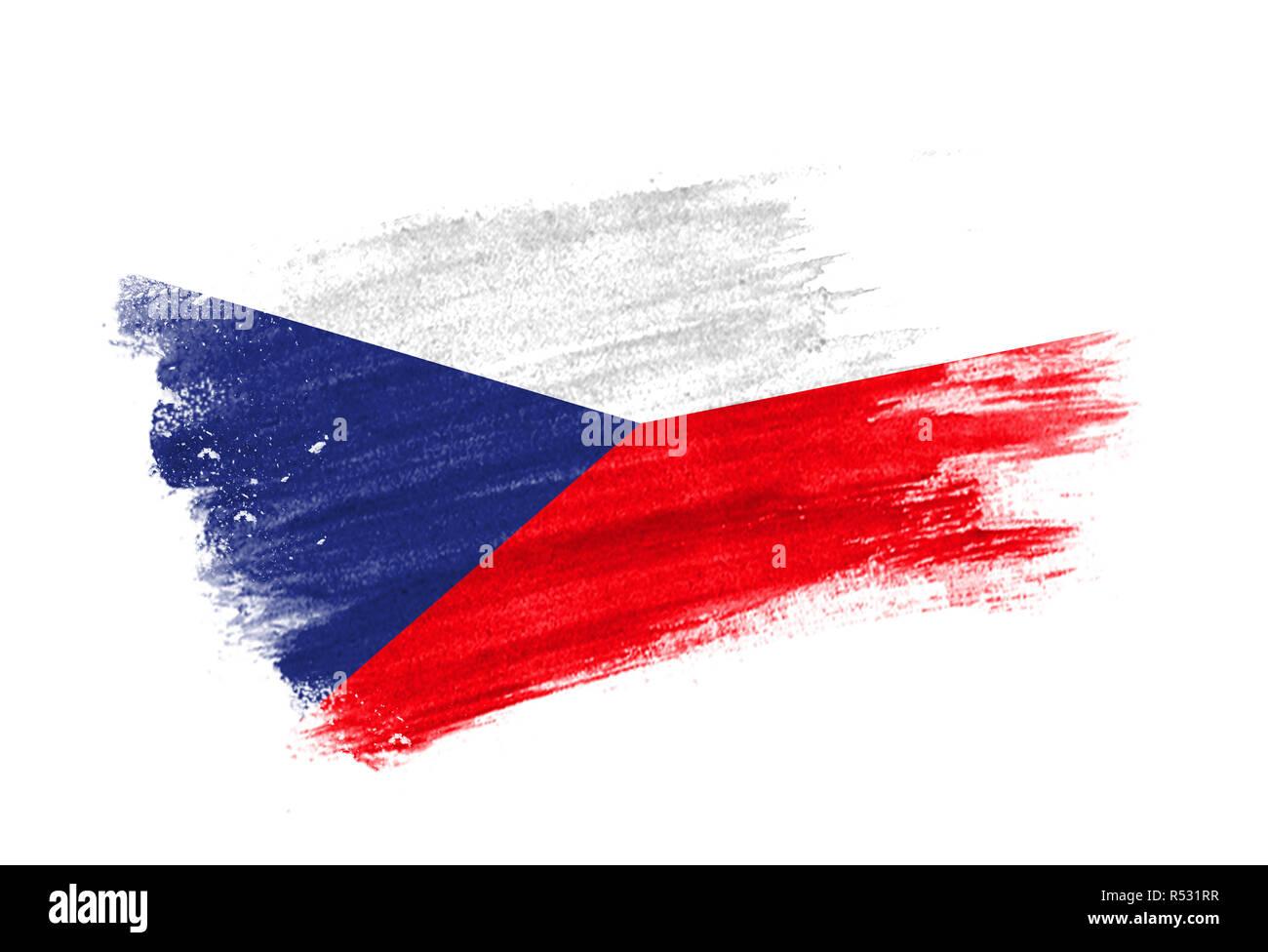 Dipinta A Pennello Bandiera Repubblica Ceca Disegnata A Mano Stile Bandiera Della Repubblica Ceca Foto Stock Alamy