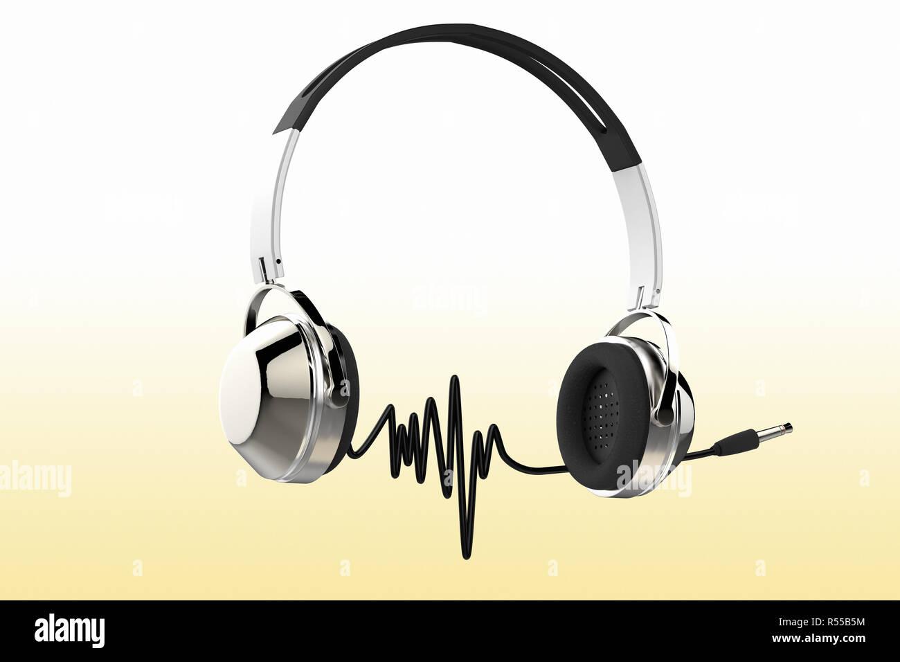 3D rendering di cuffie professionali con cavo audio la formazione di onde  sonore 1688a933a2de
