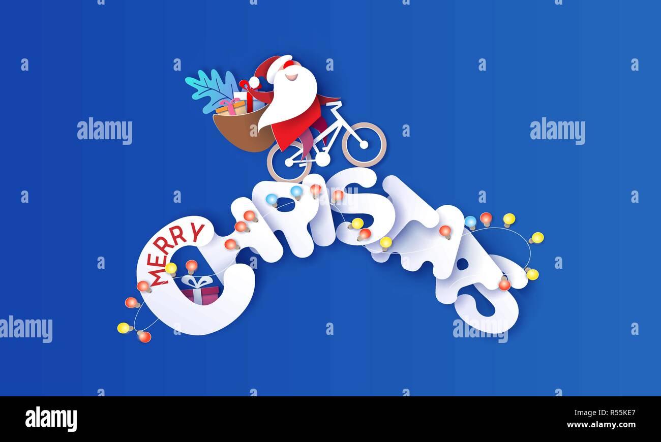 Buon Natale Per Bambini.Auguri Di Buon Natale Design Card Con Babbo Natale E I Bambini Guida