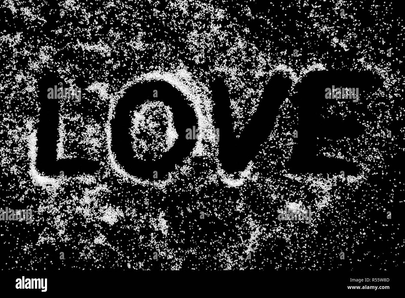 Amore Simbolo Word Disegno Dal Dito Sul Bianco Della Neve Polvere