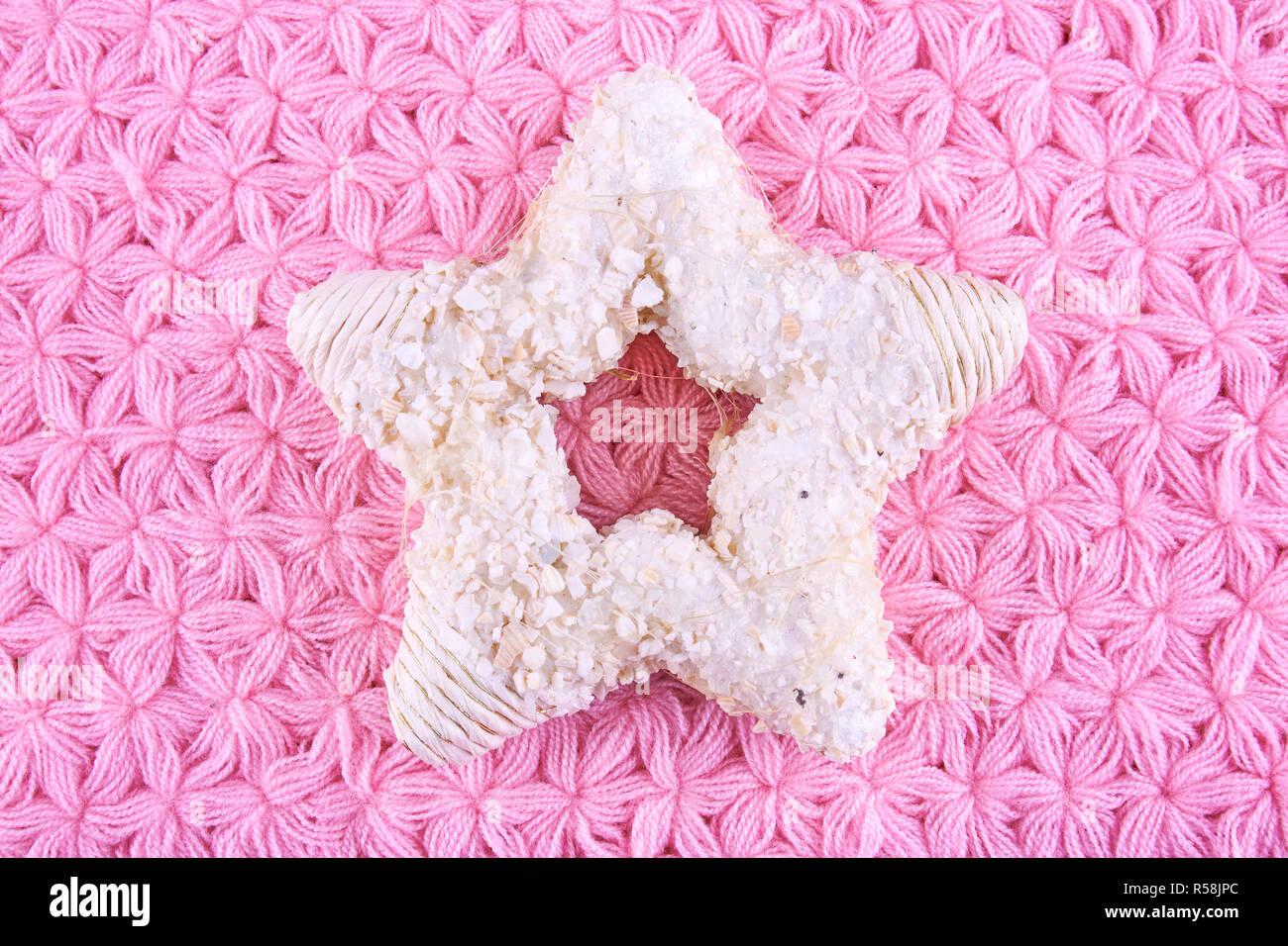 Tovaglioli A Forma Di Stella Di Natale.A Forma Di Stella Decorazione Per Albero Di Natale Sulla Maglia Rosa