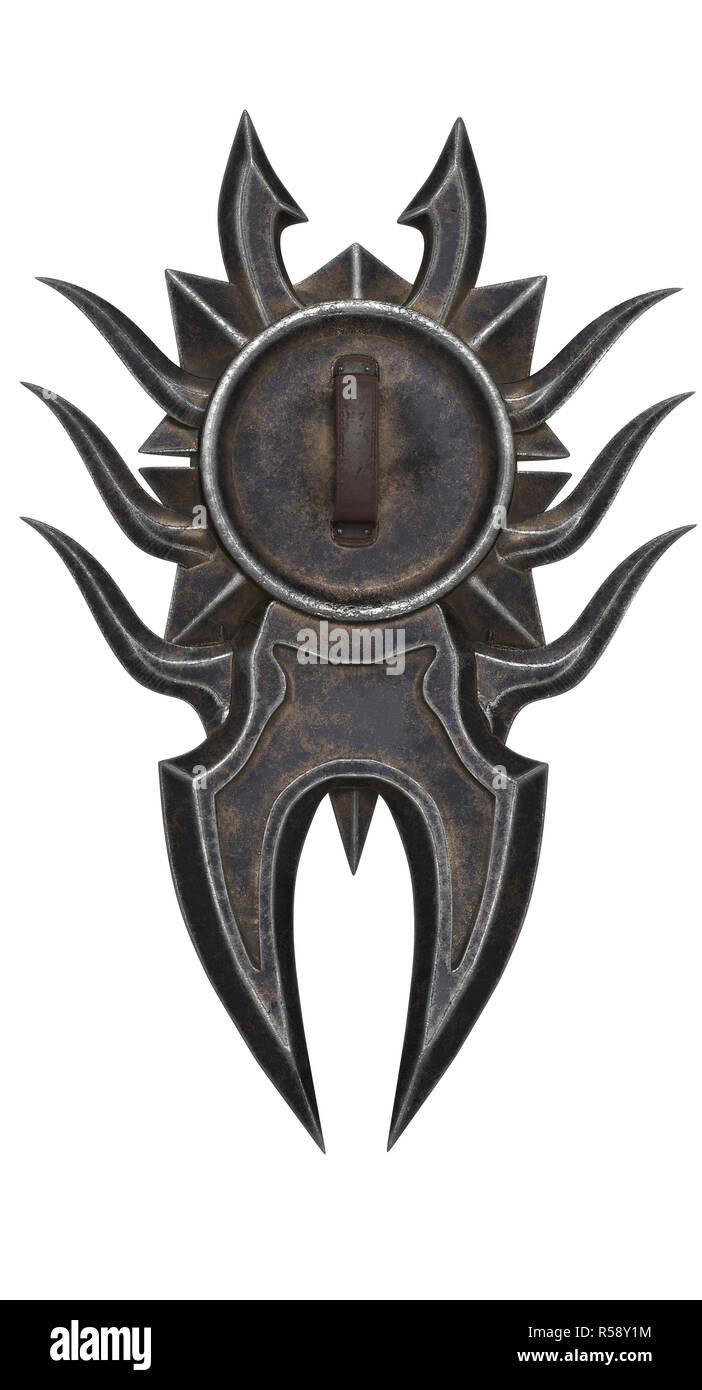 Fantasy protezione nera con punte isolato su un background. 3d illustrazione Immagini Stock