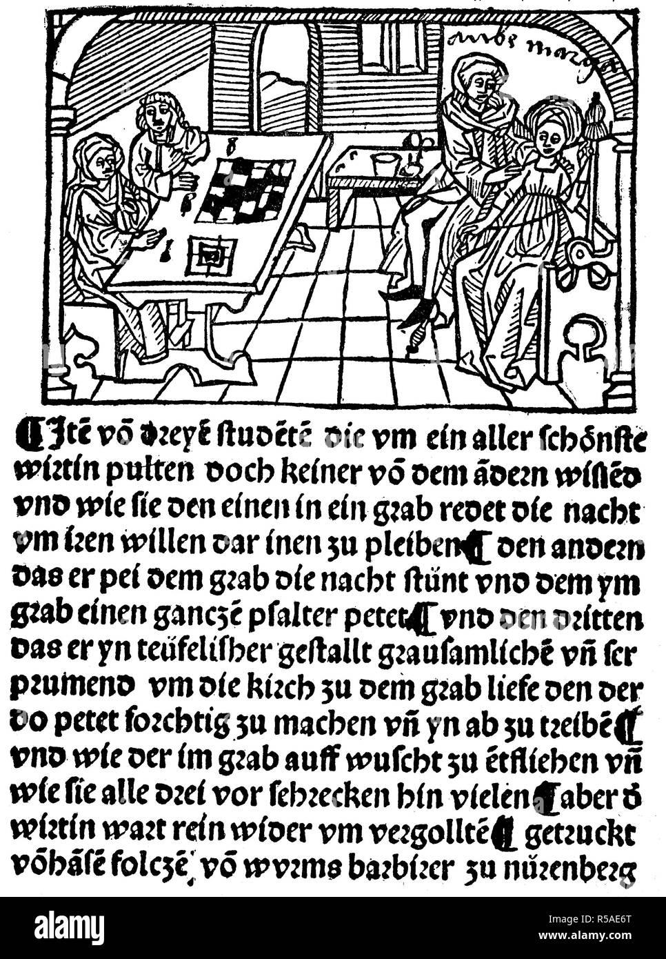 Gli studenti di un amore avventura, il titolo di un libro di Hans Folz, 1480, xilografia, Germania Immagini Stock