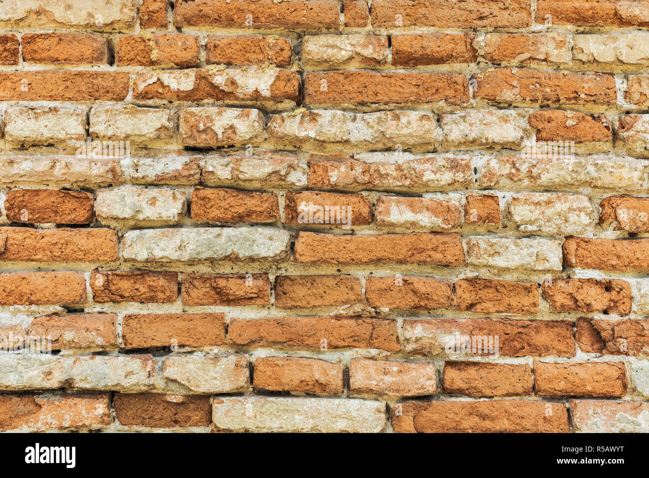 Vista in dettaglio di un muro di mattoni Immagini Stock