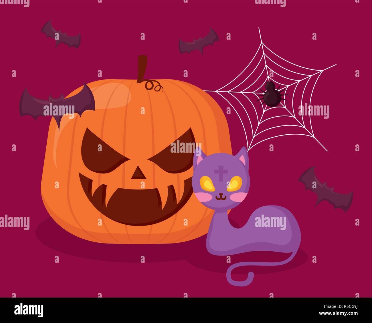 Zucca Halloween Gatto.Zucca Di Halloween Con Gatto E Pipistrelli Illustrazione Vettoriale
