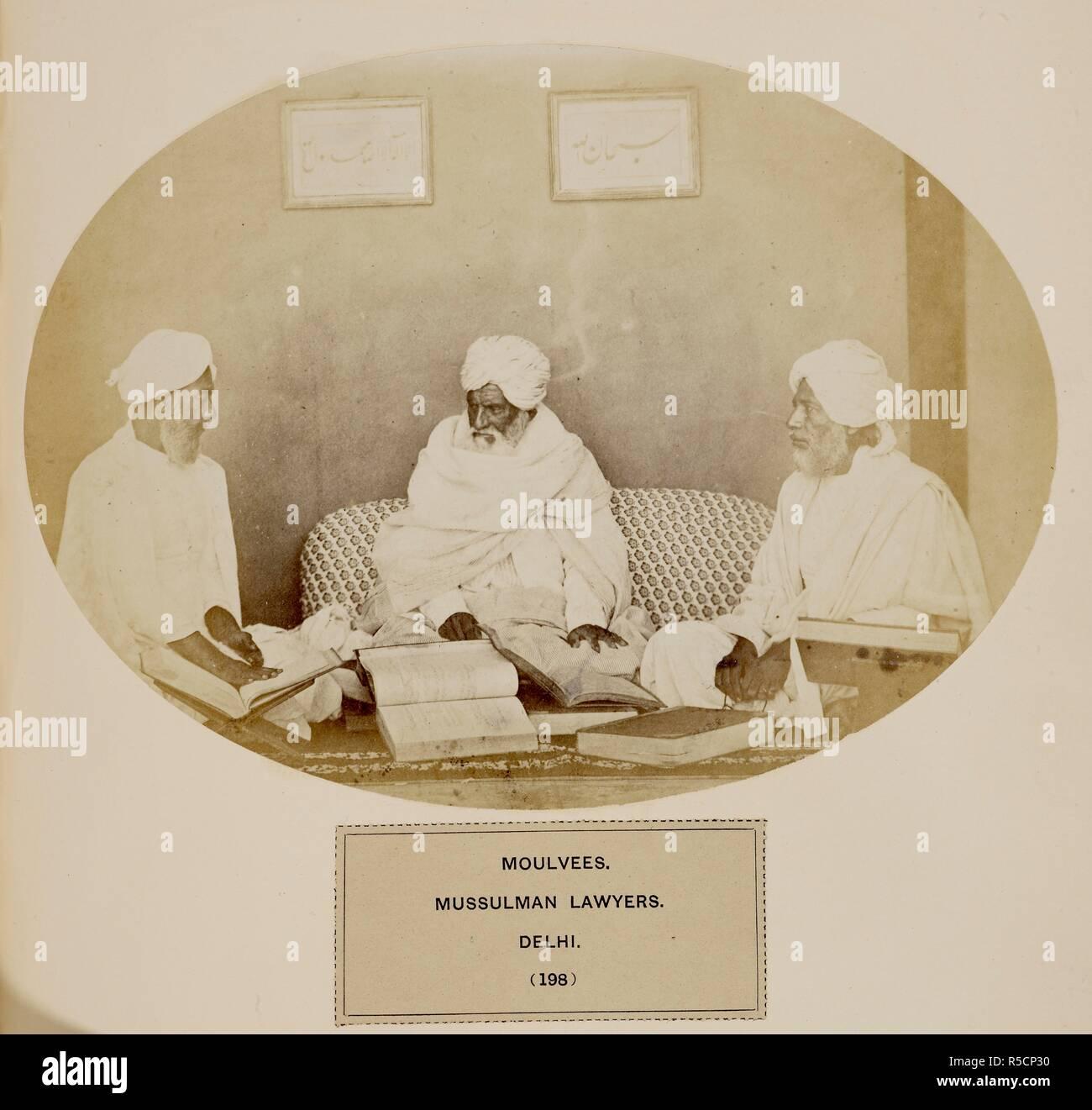 Moulvees. Mussulman avvocati. Delhi. c.1862. Fonte: Photo 973/4(198). Immagini Stock