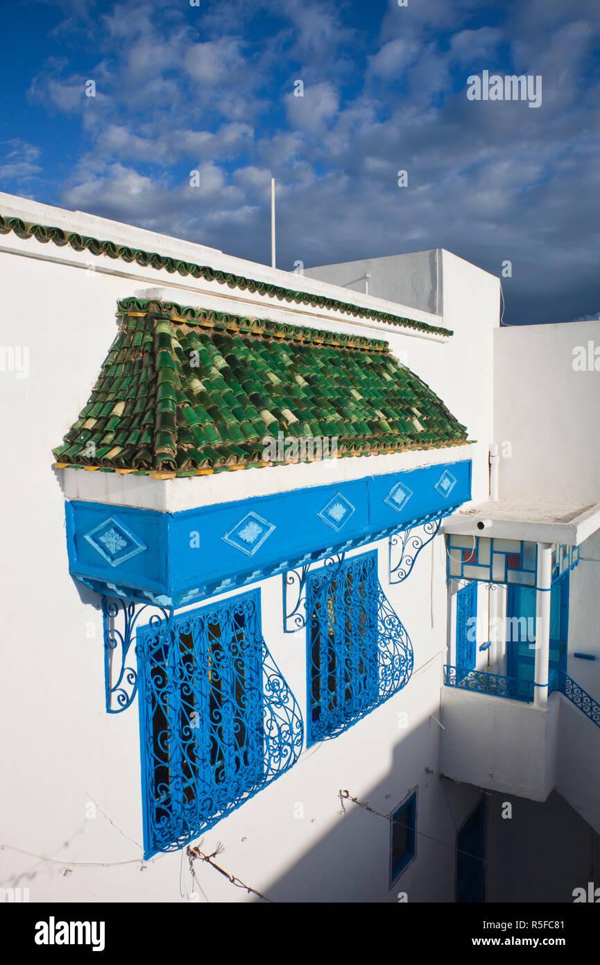 La Tunisia, Sidi Bou Said, Casa di dettaglio Immagini Stock
