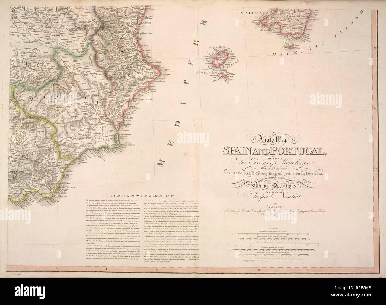 Mappa Spagna Orientale.Mappa Della Costa Orientale Della Spagna Mostra Castilla Murcia Valenciana Iviza Mallorca Una Nuova Mappa Della