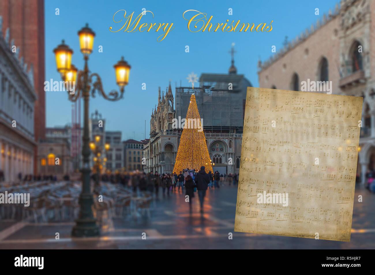Auguri Di Natale Carta Con Sfondo Sfocato Di Piazza San Marco A