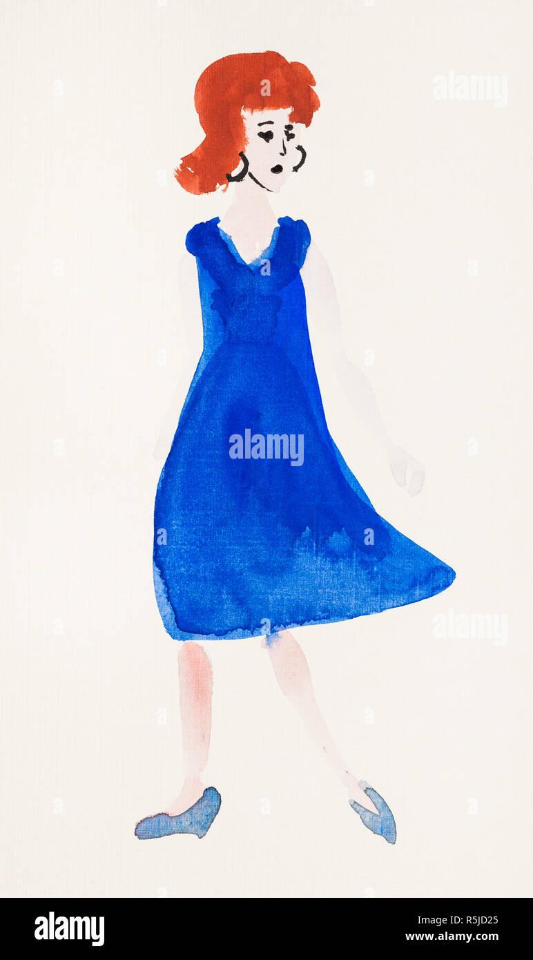 new style 95546 f5304 Donna in vestito blu e scarpe blu Foto & Immagine Stock ...