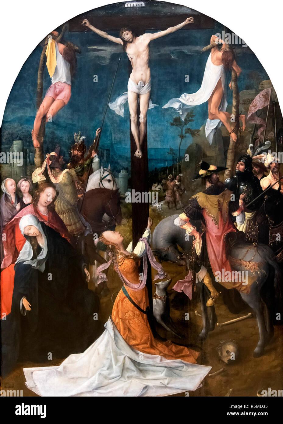 Calvario (Golgota) di Jan de Beer (c.1475-1528), olio su pannello, c.1510 Immagini Stock